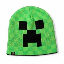 Kids Official Minecraft Creeper face knitted winter beanie hat AGE 6-14