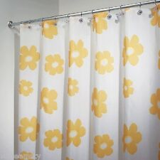 Red Yellow White Poppy Flower Floral Fabric Shower Curtain Bath Decor