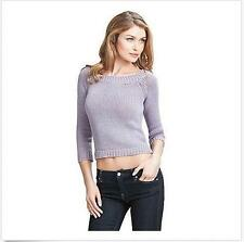 GUESS by Marciano Blanche Cropped Sweater Knit Top Long Sleeve M