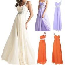 Prom Formal Party Dress Long Evening One Shoulder Beads Gown Bridesmaid Dress