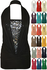 Sequin Halter Neck Ruched Boob Tube Women Stretch Sleeveless Top Size 4-12