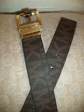 $48 Michael Kors Authentic MK Logo Brown Reversible Unisex Leather New 2 &1 Belt