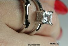 PRINCESS CUT VNTG STYLE 2C STERLING SILVER CZ ENGAGEMENT RING WEDDING RING SET