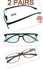 RG23/1   2 X PAIRS Bendable TR90 Material 2014 Black Reading Glasses+1.5+2.0+2.5