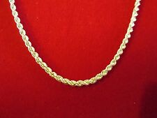 Men's Women's 10K Yellow Gold Hollow Rope Chain 2.2 mm 20-24 inch Lobster clasp