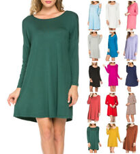 Women Scoop Neck Dolman Top Long Sleeve Mini Dress Piko Style Tunic S M L XL USA