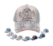 Women Visor Luxury Rhinestone Denim Peaked Baseball Tennis Adjustable Hat Cap