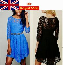 Sexy 3/4 Sleeve Lace Women Cocktail Party Dress Asymmetric Hem UK Local Shipping