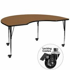 Mobile 48''W x 72''L Kidney Shaped Activity Table Thermal Fused Laminate Top