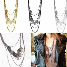 Womens Multilayer Hollow out Leaves Pendant Long Sweater Chain Necklace Jewelry