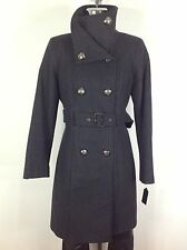GUESS NEW w Tags Modern Women's Charcoal  Wool Blend Double Breasted Coat sz PM