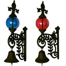 Metal Ivy Frame Glass Globe Color Orb Finial Mounted Bracket Bell Cast Iron Rust