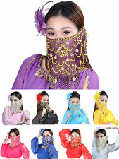 Belly Dance Tribal Face Veil Face Shawl Scarf Wrap Costume Beads Sequin 9 Colors
