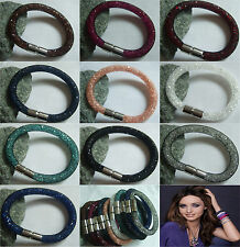 Mesh Stardust Magnetic Bracelet Bangle With Colorful Crystal Stone Elements