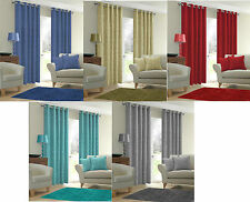 Plain Curtains Thermal Backed Light Reducing Ring Top Eyelet Curtain Ready Made