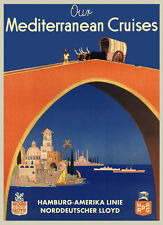 Mediterranean Cruises Ship Boat Germany India Travel Vintage Poster Repo FREE SH