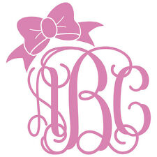 Three Letter Vine Monogram w/ Bow Decal Sticker - TONS OF OPTIONS
