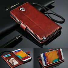 Genuine Real Leather Flip Wallet Case Cover For Samsung S3 S4 S5 S6 Note3 Note4