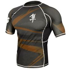 Hayabusa Metaru 47 Short Sleeve Rashguard (Black/Brown) - bjj ufc mma