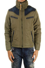 DIESEL men green long sleeves padded jacket jeans inserts and finishing details