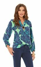 Lilly Pulitzer New Green Under The Palms Silk Elsa Top Blouse Shirt New XS S
