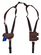 NEW Brown Leather Shoulder Holster w/Dbl Mag Pouch Beretta, Taurus Mini-Pocket