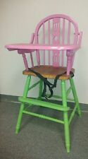 Baby High Chair Wooden Solid wood Fully Assembled pink&green