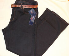 CHAPS SLIMMING FIT STRAIGHT LEG PETITE JEANS & BELT DARK RINSE Mid Rise NWT