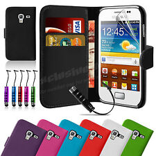 Flip Wallet Leather Case Cover For Samsung Galaxy ACE 2 i8160 + Screen Protector