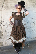 Banned Steampunk Victorian Lace Corset Long Dress Black Brown Copper Stripe New