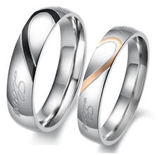 Heart Shape Matching Titanium Steel Lovers Promise Ring Couple Wedding Brands