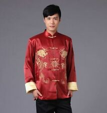 Handsome Chinese men's silk Dragon Kung FU party jacket/coat SZ M L XL 2XL 3XL