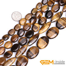 "Natural Tiger's Eye Gemstone Oval Beads 15"" 12x16mm 13x18mm 15x20mm 18x25mm"