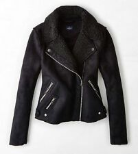NWT American Eagle Outfitters Womens Faux Shearling Moto Jacket Black - S, M, L