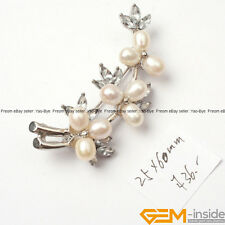Natural Freshwater Pearl Beads White Gold Plated Flower Jewelry Brooch 25x60mm