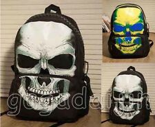 NEW men women Popular punk nylon skull backpack book bag school shoulder bag