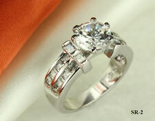 4.42 CT STERLING SILVER ROUND CZ VINTAGE STYLE ENGAGEMENT WEDDING RING S5-9 ~SR2