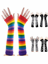New Winter Women Wrist Arm Warmers Long Mitten Gloves Knit Stripes Fingerless