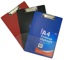 Clip Board A4 - BLACK, BLUE or RED - Clipboards with Pen Holder &  Foolscap