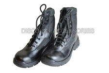 MEN LEATHER BOOTS STEEL TOE CAP PATROL COMBAT WORK SECURITY SAFETY HIKING BLACK