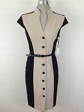 Calvin Klein NEW w T Black and Khaki Color block Wear to Work Dress Size 2-18W