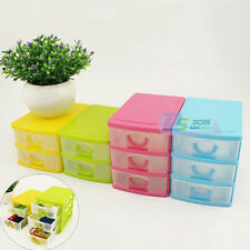 Desktop Storage Box with Two or Three Drawers Jewelry Organizer Holder Cabinets