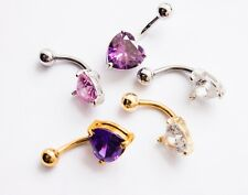 Stainless Steel Gold Plated Heart Curved Navel Belly Bar With Crystal Heart