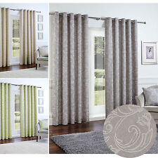 Fully Lined Half Panama Curtains with Embossed Floral Print & Ring Top Eyelet