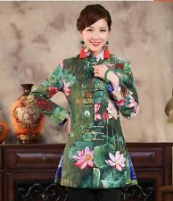Charming Chinese Women's cotton jacket/Coat Cheongsam Green Sz:M L XL XXL XXXL