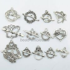 13Set Tibetan Silver Butterfly Heart Toggle Clasps DIY Findings Antique Style
