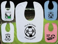 SWANSEA CITY Football Baby Bib-White/Blue/Pink-Personalised Gift-Boy/Girl-Cotton