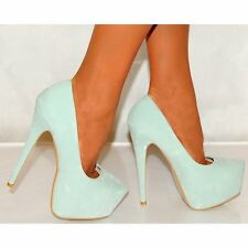 MINT GREEN FAUX SUEDE CONCEALED PLATFORMS STILETTOS COURT SHOES HIGH HEELS SIZE