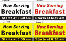 3ftX5ft Custom Printed Now Serving Breakfast Banner Sign w/ Your Additional Text