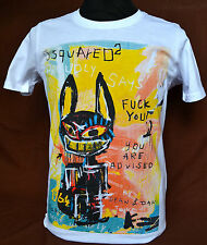 BNWT DSQUARED 2 NEW COLLECTION 2015, DSQ2 ADVISED White Tshirt,SIZE S,M,L,XL,XXL